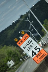 Miles and miles... (Melinda G Pix) Tags: road sign traffic roadconstruction