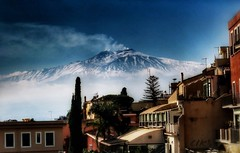 Sketches of Italy: Etna view from Taormina (Bebo_cik) Tags: landscape volcano smoke taormina etna flickrtravelaward