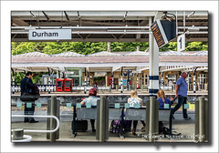 The Durham 9 (Fermat48) Tags: england durham platform passengers railwaystation northeast hdr redphonebox codurham