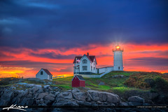 Colors at Dawn Nubble Lighthouse at Cape Neddick York Maine (papabear523) Tags: york dawn maine capeneddick nubblelighthouse capeneddicklight photomatixpro hdrphotography captainkimo