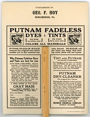 Putnam Fadeless Dyes and Tints Advertising Fan (Back) (Alan Mays) Tags: ephemera fans advertisingfans paperfans cardboardfans handfans promotionalfans advertising advertisements ads paper printed putnamfadelessdyes putnamdyes dyes tints fadeless putnamnokolorbleach nokolor kolor colors bleaches monroe monroechemical monroechemicalcompany companies butterflies insects animals anthropomorphic anthropomorphism nymphs sprites creatures painting artnouveau colorful green yellow pink purple quincy il ill illinois 1920s antique old vintage typefaces type typography fonts regensteiner regensteinercorporation chicago printers publishers hoy georgefhoy geofhoy hublersburg pa centrecounty pennsylvania