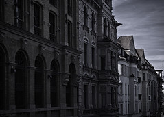 A German San Francisco (Joe Corll) Tags: street houses blackandwhite bw white black church monochrome germany deutschland alley nikon san francisco platz churches kirche kirchen joe row bach alleyway halle alleys rowhouses holla d3300 corll mutoeu