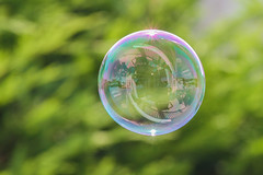 Rail Reflection Bubble (Mikeinwayne...On and off...) Tags: round colorful green orb globe reflection iridescent iridescence soapbubble