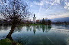 St. Jacob in Kostanjevica (marko.erman) Tags: bridge trees sky panorama church nature beautiful grass parish architecture reflections river landscape countryside jacob sony calm ciel slovenia serene slovenija grassland extrieur overflow genuine krka stjacob romatic kostanjevica kostanjevicanakrki