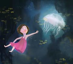 pearl3 (Nazuba) Tags: art illustration digital painting jellyfish underwater fantasy littlegirl kidliart