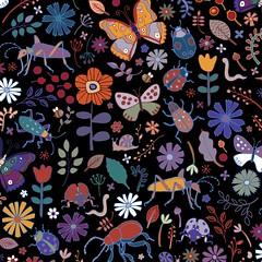 Butterflies, beetles & blooms - black (Cecca W) Tags: spoonflower pattern patterndesign surfacedesign fabricdesign patternblock surfacepattern fabric redbubble repeatpattern