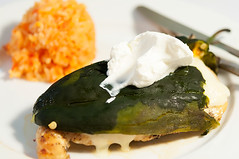 chicken breast with poblano chile and Spanish rice (bour3cp1) Tags: chile chicken breast with rice spanish poblano