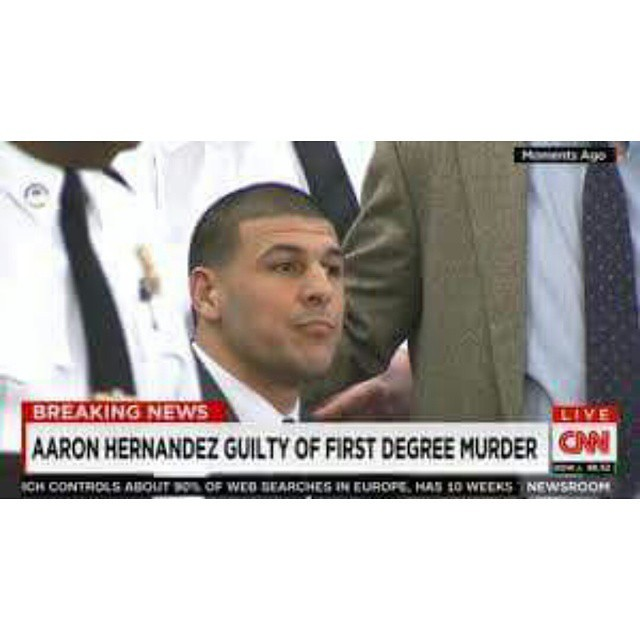 AARON HERNANDEZ GUILTY Of 1st Degree Murder! Would You Continue To Stand By His Side If You Were His Fiancée?  AARON HERNANDEZ has just been found guilty of 1st degree murder in the killing of semi-pro football player Odin Lloyd. and has been sentenced