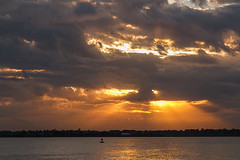cloudy sunset (doddsjzi) Tags: sunset seagulls clouds reflections river charlestonsc crepuscularrays ashleyriver