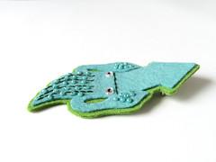 Flat Felt Squid Brooch (blue) (hine) Tags: blue handmade brooch craft felt squid etsy イカ hine hinemizushima