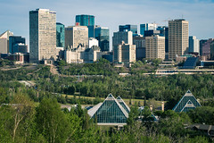 Good Morning Edmonton (Daveography.ca) Tags: city morning canada green skyline spring downtown edmonton skyscrapers alberta valley morningcommute muttartconservatory highrises rivervalley muttart