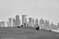 City Scape at Doha (Paterdimakis) Tags: street city travel sky people white black building tower grass silhouette architecture see blackwhite cityscape view hill doha qatar scyscraper fuij