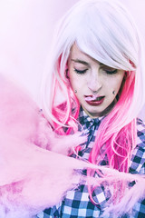 Cotton candy (Nanihta (Sol Vzquez)) Tags: pink portrait woman cute girl female cool chica candy teen smiley kawaii beautifulwoman cottoncandy freckles plaid eyesclosed pinkhair youngwoman plugs alternative septum daydreamer fineartphotography whitehair pasteltones foreveryoung fineartportrait alternativemodel artisticportrait freckledgirl softgrunge girlwithpiercings pastelgrunge pastelgoth womanwithpiercings