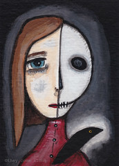 Aceo Original Painting Skull Half Face Girl With Crow (They Come Along) Tags: art halloween girl painting skeleton skull miniatureart gothic aceo myart acrylicpaint miniaturepainting girlart aceoart aceopainting girlaceo
