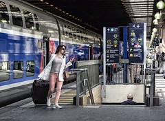 Heading Down (whosoever1) Tags: tgv gare de lyon paris france train railway railroad station girl luggage sncf