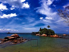 Turi Beach (Rupam Das) Tags: ocean morning blue sky cloud beach nature water clouds landscape pier rocks waterfront natural outdoor samsung wideangle shore serene