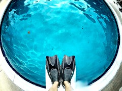 To Dive or Not to Dive (AngelBeil) Tags: blue feet swim snorkel dive lookdown flippers fins divingboard gopro