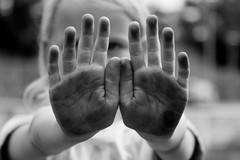 Vies (zsnajorrah) Tags: portrait people blackandwhite haarlem netherlands girl monochrome kid hands child rosie dirty dirt ef2470mmf4l tlandje 7dmarkii