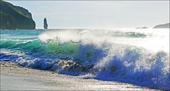 Sandwood Bay Waves (McRusty) Tags: light sea green water beauty bay scotland waves natural outdoor wave cliffs spray stack highland translucent sutherland breaker breaking sandwood