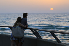 Love is.... watching sunset together. (Rahul Gaywala) Tags: tel aviv beach hug israel love lover sea sunset telaviv