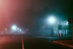 Untitled. (elsableda) Tags: africa street light urban mist lamp misty fog night canon southafrica lights town long exposure south foggy capetown cape lamps stellenbosch