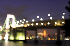 slightly out of focus (whitemt1) Tags: city light building water skyline architecture zeiss tokyo focus waterfront bokeh outdoor odaiba nightview tokyobay loxia250