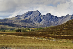 The Cuillin Mountains (maureen bracewell) Tags: scotland skye landscape sunshine spring isleofskye highlandsofscotland cuillins walking fence clouds reeds lochcillchriosd uk morning maureenbracewell daarklands
