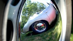 Porsche 356 Blurry Reflection (mister_hashtag) Tags: auto reflection car wheel volkswagen mirror automobile day anderson german porsche vehicle rim hubcap 356 larz 2016