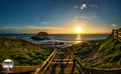 Setting Sun | Nobbies Wooden Walkway (kenneth chin) Tags: ocean park sunset sea green nature grass stone landscape yahoo google nikon rocks sigma australia melbourne landmark victoria fisheye trail western vegetation phillipisland hdr nobbies woodenwalkway d810