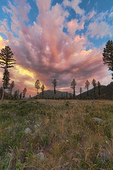 Boulder Creek Lodge Stormy Sunset (dgilder) Tags: bouldercreeklodge hall montana thunderstorm lightning woods field mountains pinetrees