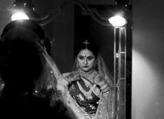 touch up (AanupamM) Tags: wedding portrait woman reflection canon 50mm bride lowlight bokeh marriage
