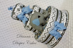 Elephant Baby Diaper Cake Boys Blue Shower Gift Centerpiece (2) (Dianna's Diaper Cakes) Tags: baby diaper cakes shower centerpieces gifts boys girls neutral diannas decoration