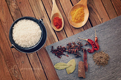 Indian Spices (Serena178) Tags: food india cooking kitchen rice indian spice curry chef smell taste chilli cumin tumeric flavour cloves odc receipe staranise bayleaves