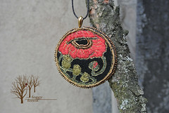 The blooming poppy (~Gilven~) Tags: flowers red green forest gold beads embroidery poppy bead pendant beadembroidery japanesebeads foggyforest