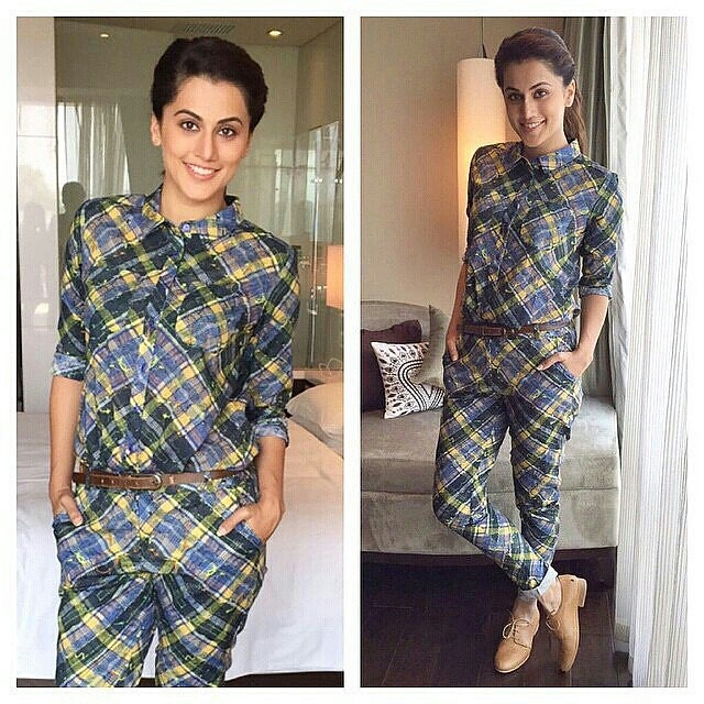 #Regrann from @instatollywood - Taapsee looking stylish for promotion of Gangaa Movie in Hyderabad. #instatollywood #tamilcinema #tollywood #tamilactresss #Southindian #southcinema #tamil #telegu #India #indian #desi #telegucinema #teluguactress #Kollywoo