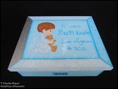 """Conjunto de batizado """"Doce Menino"""" (GataPreta Artesanato) Tags: crafts artesanato batizado bebé infantil decoração livrodehonra lembrançasbatizado conjuntobatizado caixadebatizado"""