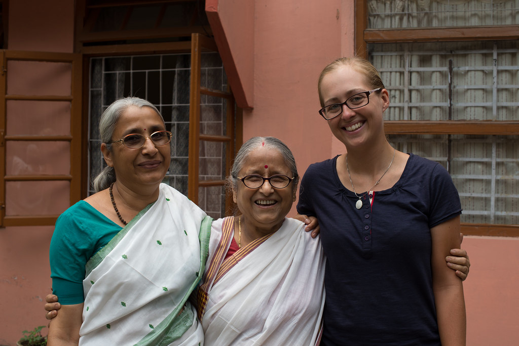 Claire with the two sisters from Assam