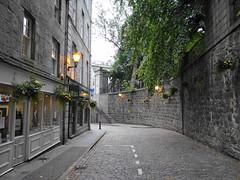 Aberdeen at Night (Ian Jackson 1974) Tags: street bridge flowers wall lights steps bistro aberdeen shops