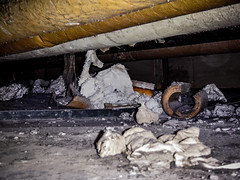 Friable Asbestos Debris: Out of Sight, Out of Mind? (Asbestorama) Tags: danger duct mess exposure risk debris inspection pipe insulation safety survey hazard ih tsi asbestos lagging