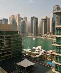Cloud between buildings - Dubai Marina, UAE (kadryskory) Tags: urban cloud water boat dubai skyscrapers yacht uae dubaimarina kadryskory