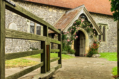 All Saints church, East Dean (Keith in Exeter) Tags: church eastdean westsussex porch doorway gate swivel roses outdoor building architecture nationalpark southdowns