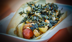 Night Market Food #1 - San Jose, California (, ) (dlau Photography) Tags: night market california   sanjose tastiest  nightmarket  japanese fusion style hotdog      sautedonion sauted onion   seaweed  sesame  travel tourist vacation visitor people lifestyle life sightseeing   trip   local   city  urban scenery   weather   delicious   cuisine  dinner