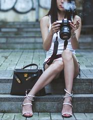 checking photos (catherineduan) Tags: hongkong soho hongkongsoho leica leicamp240 smoking hermes hermeskelly giuseppezanotti fashion streetsnap hongkongstreetsnap