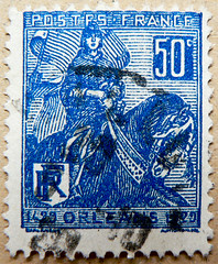 May 30th 1431; great stamp France 50c (Jeanne d'Arc 1412-1431, saint; Joan of Arc, ジャンヌ・ダルク, Giovanna d'Arco, Johanna von Orléans, Жанна д'Арк, 聖女貞德, Juana de Arco) Briefmarke Frankreich timbre postage Francia sello 邮票 法国 yóupiào Fǎguó почтовая марка Фран (stampolina, thx ! :)) Tags: blue france saint azul postes french orleans frankreich blauw blu stamps bleu marianne blau azzurro niebieski mavi joanofarc biru bleue blå sellos jeannedarc orelans juanadearco 1412 1431 briefmarken синий nationalhero selos timbres kék giovannadarco timbreposte francobolli bollo голубой 兰色 may30th johannavonorléans modrý frimaerke azzur 聖女貞德 สีน้ำเงิน ジャンヌ・ダルク жаннад'арк