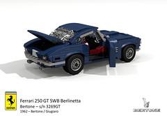 Ferrari 250 GT SWB Berlinetta sn 3269GT (1962 - Bertone / Giugiaro) (lego911) Tags: auto italy classic 1969 film car model italian lego render under over ferrari million cameo marlowe 1960s gt coupe 1962 challenge thousand 250 cad lugnuts 89 povray v12 swb moc giugiaro bertone berlinetta ldd carrozzeria miniland coachbuilt 3269 lego911 3269gt overamillionunderathousand