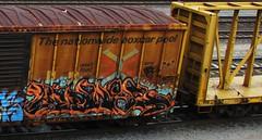 (timetomakethepasta) Tags: train mexico graffiti box rail boxcar freight