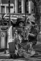 Alter Mann mit Plastiktte (rollirob) Tags: blackandwhite bw streetart nikon kln menschen sw schwarzweis strase nikond800