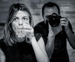 Mari & Me (lothar1908) Tags: bw glass look canon mirror eyes drink bokeh drinking indoor bn occhi sguardo mari mano ritratto biancoenero bicchiere interni specchio canoneos5dmarkiii ef2470mmf28liiusm