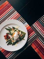 Grilled asparagus with poached egg and smoked sun dried tomatoes and shavings of Parmiggiano Reggiano - nice dinner tonight (virgilispas) Tags: green dinner egg tasty plate grill negativespace salty asparagus oliveoil coloured overhead poached parmiggiano