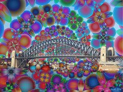 The Coathanger (boeckli) Tags: bridge art digital bright sydney coathanger colourful brcke bunt sydneyharbour sydneyharbourbridge kreative